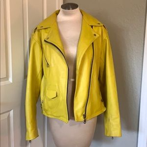 One of a Kind Mustard Yellow Leather Moto Jacket